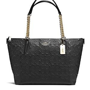 COACH Signature Embossed Leather Ava Chain Tote
